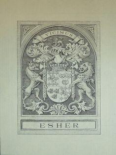 Armorial bookplate of Reginald Baliol Brett (1852-1930), 2nd Viscount Esher (UK 1897).