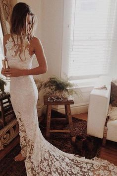 White Lace Wedding Dresses with Sweep Train, Princess Wedding Dresses #Weddingdresses #Bridalgown #ModernWeddingIdeas