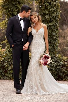 Wedding Dresses With Straps, Wedding Dress Train, Fit And Flare Wedding Dress, Cute Wedding Dress, Dream Wedding Dresses, Fitted Lace Wedding Dress, Wedding Dress Sparkle, Mermaid Wedding Gowns, Flattering Wedding Dress