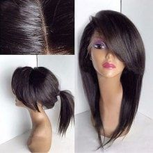 Buy Deep Side Bang Long Straight Lace Front Synthetic Wig, sale ends soon. Be inspired: discover affordable quality shopping on Gearbest Mobile! Side Ponytail Hairstyles, Frontal Hairstyles, Hairstyles With Bangs, Straight Hairstyles, Hairstyle Hacks, Chic Hairstyles, Creative Hairstyles, Beautiful Hairstyles, Medium Hair Styles