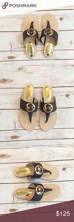 Michael Kors Raquel Espadrille Sandal Brown Logo These are sandals from MICHAEL Michael Kors. The style is Raquel Espadrille Sandal. These are a thong sandal with a logo-patterned strap and a polished MK logo medallion. These are a size 7.5. These are brand new and will come in the box. MICHAEL Michael Kors Shoes Sandals