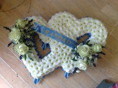 Double Open Heart Funeral Flowers