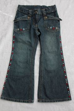 Gymboree Mountain Cabin Girl Size 5 Jeans Flare Flowers Hearts Adjustable Waist #Gymboree #Flare #Everyday