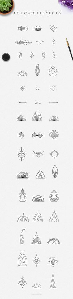 47 logo elements, for henna patterns or zendoodles