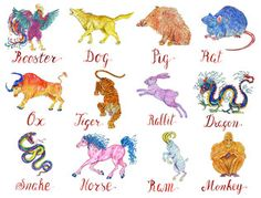 Design watercolor set with twelve chinese zodiac animals
