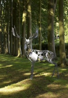 Galvanised wrought iron Deer sculpture by artist David Freedman titled: 'Fallow Deer (Metal Ghostly abstract Contemporary Standing garden statue)'