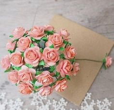 50 x Mini Rose Mulberry Paper Flower for DIY Craft Card Scrapbook Embellishment  | eBay