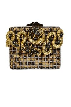 The Conversation Piece: 30 Box Clutches Roberto Cavalli Snake With Flowers Brass Cage Clutch, $2,395; luisaviaroma.com