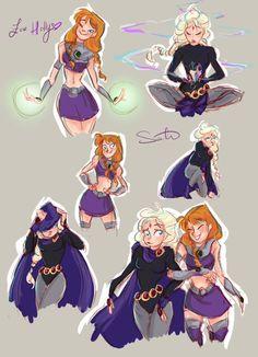 Anna as Starfire Elsa as Raven