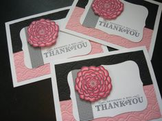 Handmade Thank You Note Cards Pink and Black by apaperaffaire, $7.50