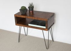 Alara Side Table | Side Table | Small Table | Dark Oak | Reclaimed Wood | Hairpin Table | Living Room Furniture | Home | Hairpin Legs