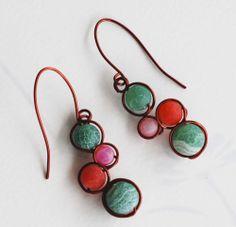 Green Pink Orange Hyacinth Mosaic Bead Brown Copper Wire Wrap Unique Earrings #Jeanninehandmade