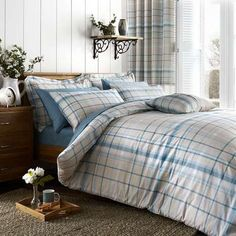 Duck Egg Check Bed Linen Collection