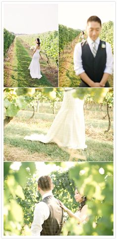 Vineyard Wedding from 100 Layer Cake. Love the bride touching his back.