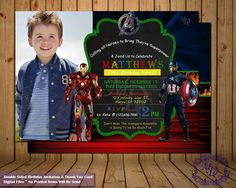 Avengers  Double Sided Birthday Invitation & Thank You Card!  * More Avengers Party Printables Available On My Shop!