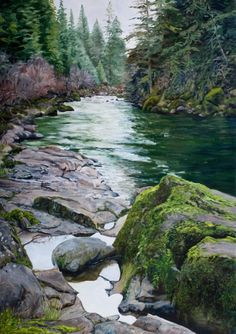 Small pools and moss | Fine Art of Tom Wheeler, realistic Oil Paintings of Nature and People