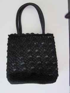 BLACK Party PURSE Crocheted Beads by ItseeBitsee on Etsy, $15.00