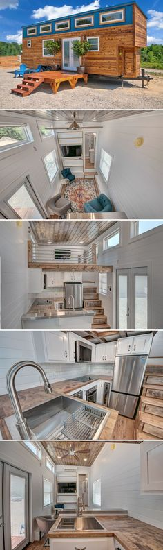 Journey by Alabama Tiny Homes - Tiny Living - The Journey is a bumper pull tiny house built by Alabama Tiny Homes. The home features a standing loft, box beam ceiling, upgraded appliances, and a spacious living room with trundle bed. Stairs In Living Room, House Stairs, Spacious Living Room, Home Living Room, Tiny House Big Living, Tiny House Plans, Tiny House On Wheels, Small Room Design, Tiny House Design