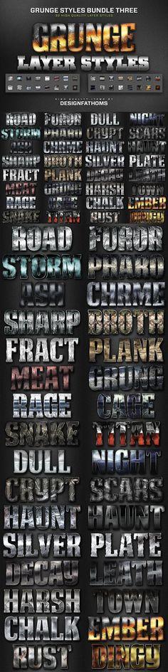32 Grunge Styles Bundle 3. Layer Styles