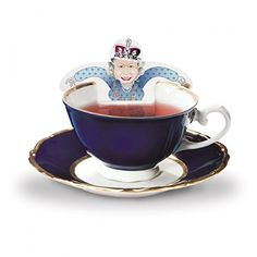 Updated with Kate! RoyalTea Royalty Tea Bags Gift Set with the Royal Family Figures, Prince William, Charles, Queen