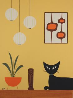Reserved for Julie - Mid Century Modern, 9 X 12 Original Acrylic, Cat, Tiki. $50.00, via Etsy.