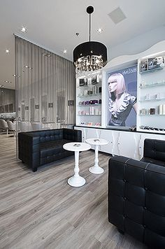 Love the waiting area and curtain separating the salon