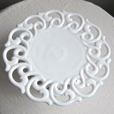 Milk Glass Cake Stand by Fostoria in the by BarkingSandsVintage, $125.00
