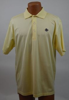 Peter Millar Mens M 100% Cotton Yellow Polo Shirt EX Used #PeterMillar #PoloRugby