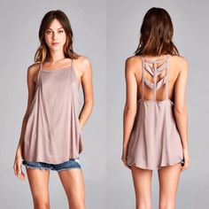 Earth Day SALE  Boho Cut Out Tank Top + Select S, M, or L in SIZE section    + Mocha color  + Loose fitting top + Cut out back  + 97% cotton, 3% spandex  + Made in USA  I'm wearing a size small here.  Sorry, I don't do trades. Order will ship the next business day. Unless otherwise communicated.   Xo, @dasrozo {Poshmark + Instagram} April Spirit Tops Tank Tops