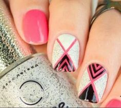 Geometric Nail Art With Textured Nail Polish - Tutorial Nail Art Designs, Nail Polish Designs, Diy Nails, Swag Nails, Manicure, Super Cute Nails, Pretty Nails, Textured Nail Polish, Black And White Nail Designs