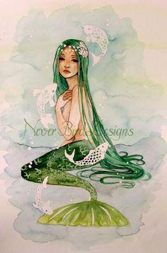 Mermaid Original Watercolour Painting by NeverBirdDesigns on Etsy, £45.00