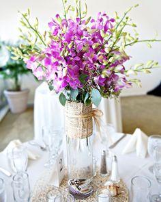 Wedding centerpiece: Beach Purple Centerpiece Wedding Flowers Photos & Pictures - WeddingWire.com