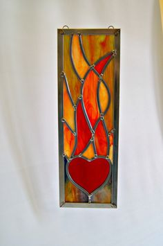 Stained Glass Fire Element Stained Glass Heart and Flames Flaming Heart Nature Art Abstract Art Earth Day Decorative Art Home Decor