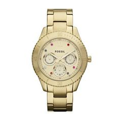 Fossil Stella Stainless Steel Watch Gold-Tone Fossil. $135.00. Stainless Steel Case and Band, Push Button Deployment Clasp. Precise Japan Quartz Movement. Case Size:  37mm Diameter, 10mm Thickness. Mineral Crystal, 3 Dial Display (Day, Date, and 24 Hr Indicator). Water Resistant - 50M