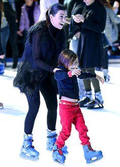 """Kourtney Kardashian takes son Mason Disick to the premiere of Disney on Ice Presents """"Rockin' Ever After""""."""