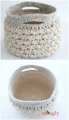 10 Free Crochet Basket Patterns for Beginners – 101 Crochet Patterns Presenting here these 10 free crochet basket patterns for beginners, referred as cozy storage solutions for your home! The perfect shapes, the soft to touch Blog Crochet, Poncho Crochet, Crochet Bowl, Crochet Shell Stitch, Crochet Headband Pattern, Crochet Basket Pattern, Crochet Gifts, Crochet Baskets, Crochet Double