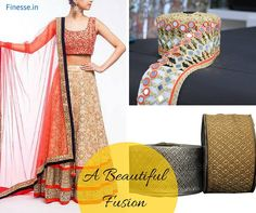 Are you bore from typical design Lehenga? Now it's enough, let's have a look at Lehenga which is a fusion of mirror work and metallic laces. Yes, it's the time to go with mirror work; it can add a cultural & charming touch into your frock.  Shop online at http://www.finesse.in/Metallic-Cutwork-Laces-depid-475145-p… or visit our shop at #TNagar or #Purasawakkam