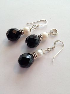 Black Glass Earrings by SharonKrug on Etsy, $18.95