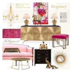 """Hollywood Regency: Her Style"" by esch103 ❤ liked on Polyvore featuring interior, interiors, interior design, home, home decor, interior decorating, Oliver Gal Artist Co., Stanley Furniture, Dian Austin Couture Home and Pink"