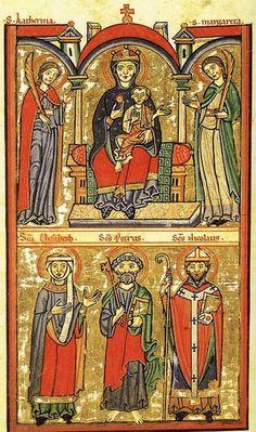 Illumination from a German 12th century psalter, c. 1200