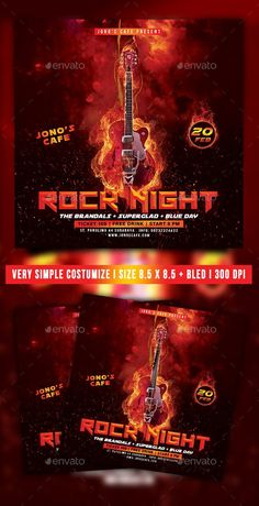 Buy Rock Music Event Party Flyer by suryn on GraphicRiver. Specification Inch 300 dpi Cmyk Print ReadyWell Organized LayersVery Simple To Customize Font Bebas Neue S. Dj Party, Party Flyer, Fitness Flyer, Restaurant Flyer, Music Flyer, Christmas Flyer, Corporate Flyer, Rock Music, Flyer Template