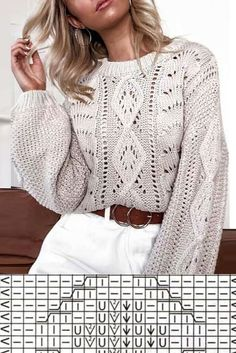 Knitting Charts, Sweater Knitting Patterns, Cardigan Pattern, Lace Knitting, Knitting Stitches, Knit Patterns, Jumpsuit Pattern, Origami Fashion, Knit Fashion