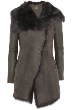 Muubaa+Isabela+shearling,+leather+and+suede+coat
