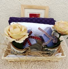 Bath Basket, Lavander Gifts Basket, Gifts Basket for couple, Hand painted clay pots, Glass Candle Holder, Cotton Face Towels, Hand Towels by MariGlassAtelier on Etsy