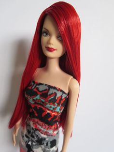 OOAK-Barbie-doll-re-root-reroot-red-hair-Diva-midge-face-mold-fashionista