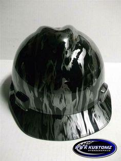 NEW Custom MSA V Gard SHORT Brim Hard Hat Black and Silver Wildfire Pattern 12a2a3ef0