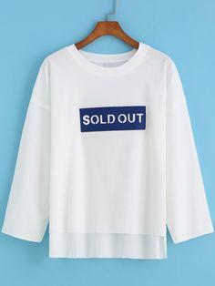 White Round Neck SOLD OUT Print Dip Hem T-Shirt