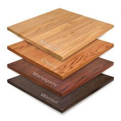 """This wooden restaurant table top is on sale! Size: 30"""" X 48"""" Lead time: Lead time  varies. Usually 7-10 days but can vary; please call us for current production times. Wood species: Red oak Available stains: Cherry, natural, mahogany, walnut, or custom  -- also can be painted black Edge options: Square or waterfall; or upgrade to bullnose  Please note: Base not included.  Item Number: RF4-W-REDOAK-ECON-3048"""