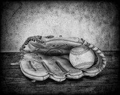 Guante de béisbol imprimir - Boys Room Decor - arte de béisbol - béisbol foto impresión - fotografía Fine Art - Vintage béisbol - blanco y negro