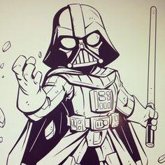 Join the Darkside! by dereklaufman Badass Drawings, Art Drawings Sketches, Cartoon Drawings, Cartoon Art, Darth Vader Cartoon, Star Wars Cartoon, Star Wars Drawings, Marvel Drawings, Star Wars Film